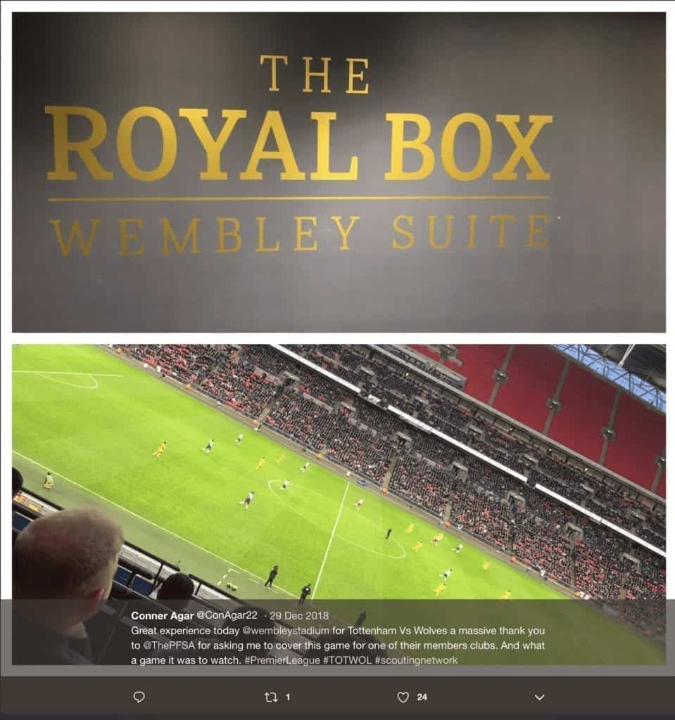 PFSA Member Football Scout is allocated the Royal Box at Wembley