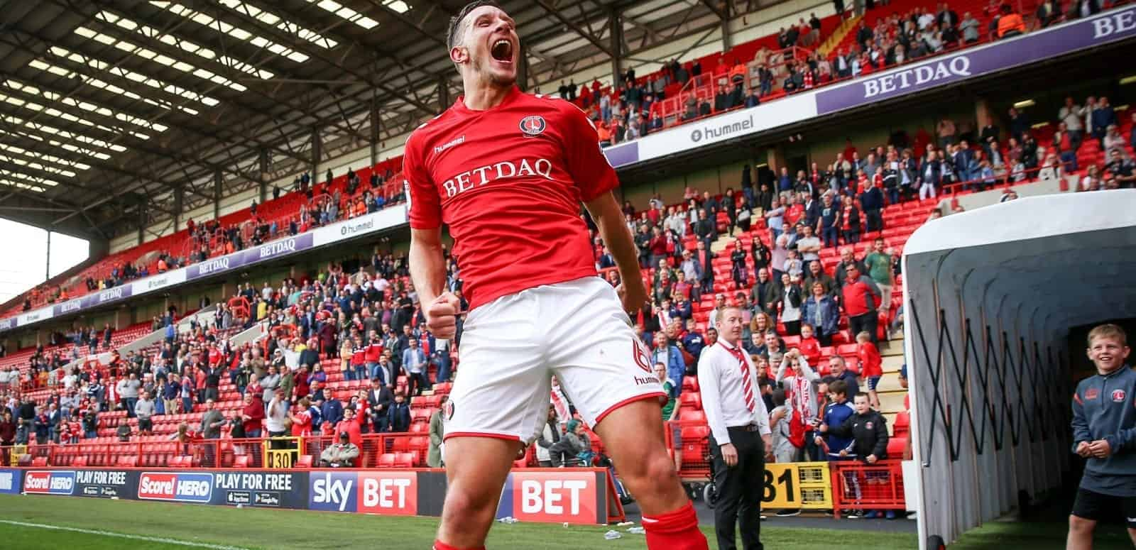 Charlton Athletic's Jason Pearce celebrates their victory