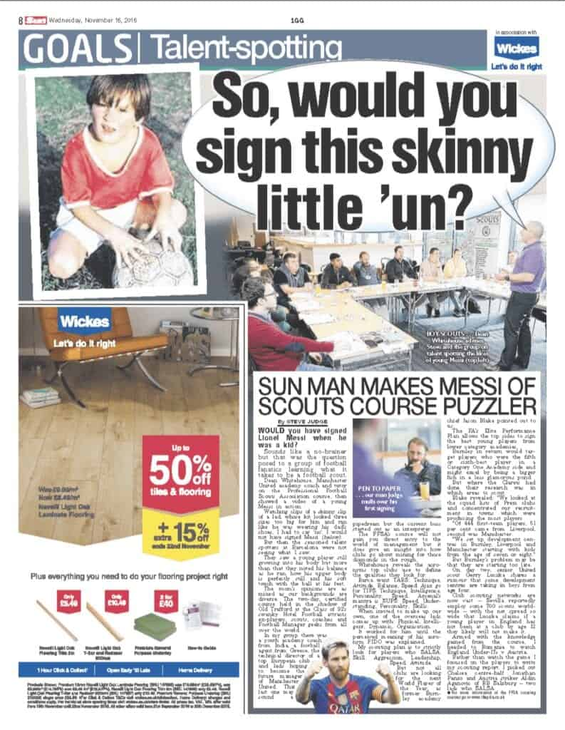 The PFSA Scouting Course featured in the Sun